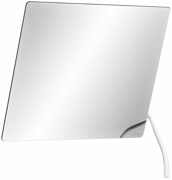 DELABIE dönthető tükör fehér nylon bevonatú hosszú oldalsó döntőkarral, 20°ban állítható, 6 mm vastag biztonsági üveggel, 600x500 mm