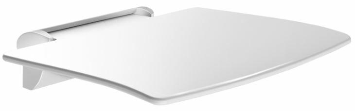 DELABIE Be-line felhajtható zuhanyzó ülőke láb nélkül, 450x455mm, levehető, alumínium, matt fehér konzollal