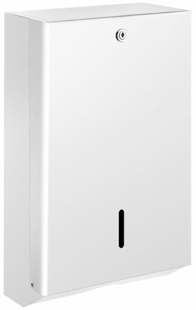 DELABIE vandálbiztos C/Z hajtott kéztörlő adagoló, acél, fehér, 1 mm lemezvastagság, kulccsal zárható, akár 750 lap kapacitással