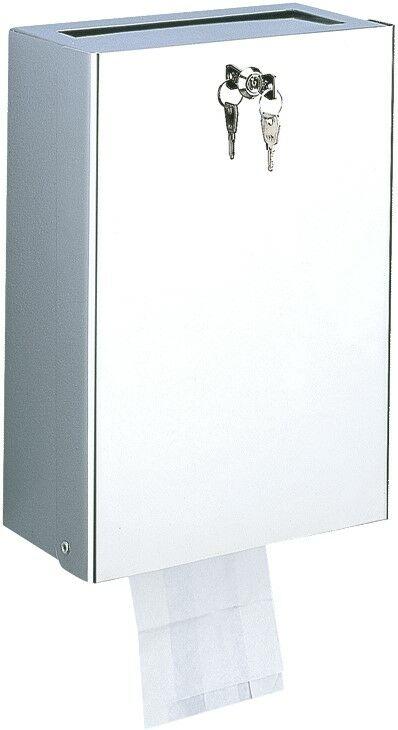 DELABIE kombinált 9L intim hulladékgyűjtő és higiénés tasak adagoló, kulccsal zárható, r.m. acél fényes