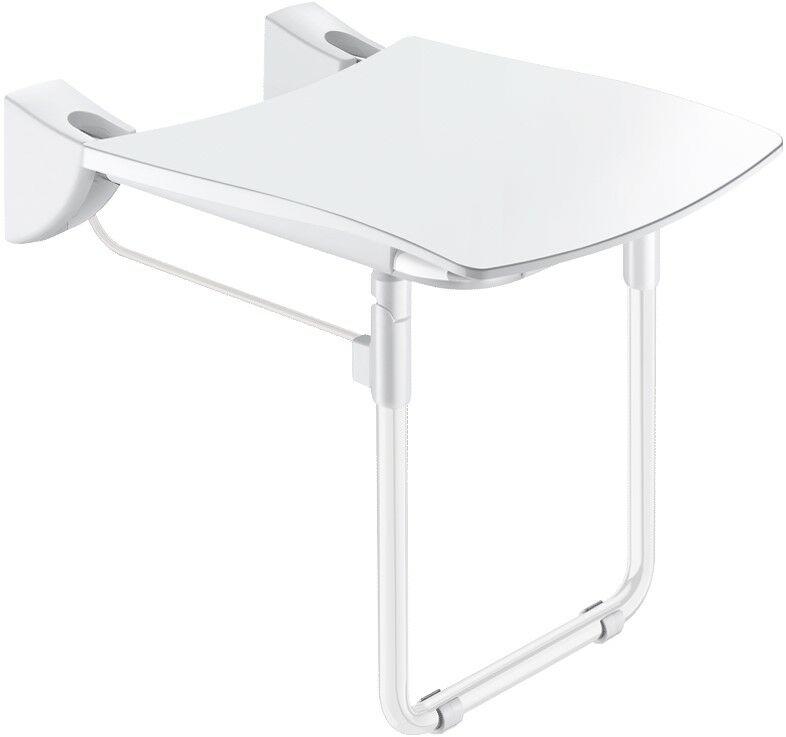 DELABIE Comfort ülőfelületű felhajtható zuhanyülőke lábbal, 420x506mm, fehér r.m. acél vázon