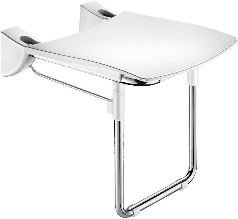DELABIE Comfort ülőfelületű felhajtható zuhanyülőke lábbal, 420x506mm, UltraPolish fényes r.m. acél vázon