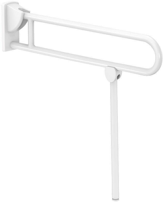 DELABIE felhajtható kapaszkodó lábbal, NylonClean fehér nylon bevonatú acél, lecsapódásmentes, 850mm