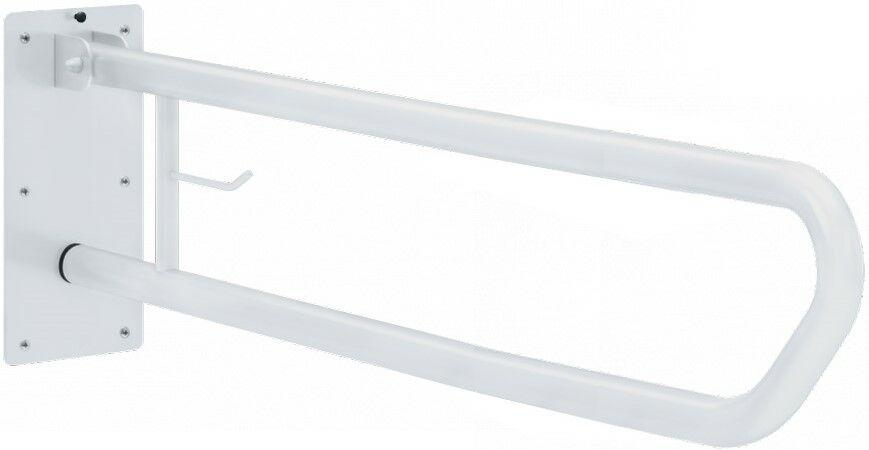 Felhajtható kapaszkodó WC-papír tartóval, fali, acél, fehér, D=32mm, L=800mm
