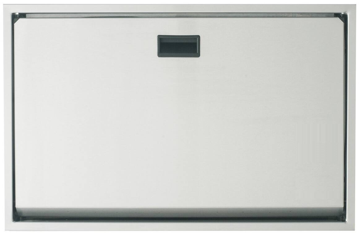 Vandálbiztos fali lehajtható pelenkázó rozsdamentes acél testtel, ABS belsővel, vízszintes, selyem