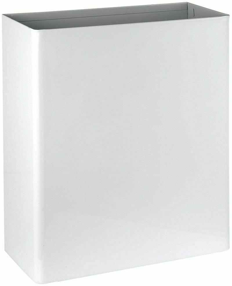 Fali fedő nélküli hulladékgyűjtő, 23 liter, acél, fehér