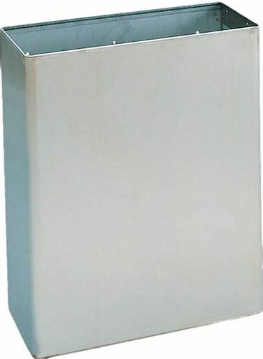 Fali fedő nélküli hulladékgyűjtő, 23 liter, rozsdamentes acél, matt