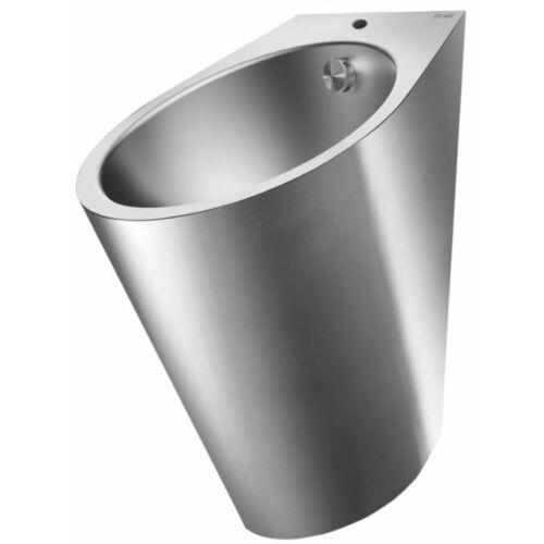DELABIE FINO rozsdamentes acél piszoár, lekerekített, felső bekötéssel, selyem, 1,2 mm falvastagság