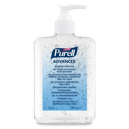 PURELL Advanced kézfertőtlenítő gél, széles hatásspektrummal - virucid, fungicid, baktericid, mikobaktericid, érvényes OTH engedély, asztali pumpás flakon, 500 ml-es
