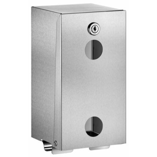 DELABIE vandálbiztos kistekercses WC-papír adagoló, szögletes, 1 mm vastag r.m. acél, selyem matt, 2 tekercses, szintjelzővel, kulccsal zárható, szemből nyitható