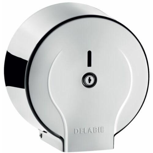 DELABIE vandálbiztos JUMBO MINI r. m. acél WC-papír tartó, 200 m-es tekercsekhez, fényes