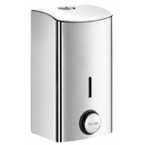 DELABIE nyomógombos szappanadagoló, lekerekített, SLIM dizájn, 0,5 literes belső, kivehető műanyag tartállyal, 1 mm vastag r.m. acél lemezből, fényes