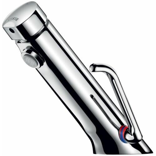 DELABIE TEMPOSOFT MIX 2 nyomógombos mosdócsaptelep, soft-touch technológiával, álló, hideg-meleg vízhez, állítható átfolyással, hosszú keverőkarral