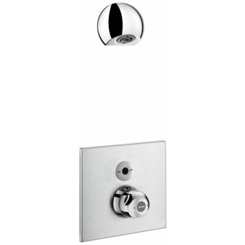 DELABIE SECURITHERM vandálbiztos, infra vezérlésű, termosztatikus keverőszelepes zuhanycsaptelep kit ROUND zuhanyfejjel, hideg-meleg vízre, beépített, rozsdamentes acél előlappal, Bayblend hőmérséklet-szabályzóval, vízmentesen zárt szerelődobozban