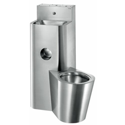 DELABIE kompakt fali börtön szaniter - blokkolásgátlós csappal szerelt vandálbiztos kézmosó, direkt öblítésű jobbos álló WC-vel, r.m. acél, 2 mm