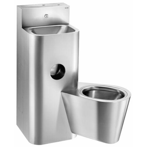 DELABIE kompakt fali börtön szaniter - blokkolásgátlós csappal szerelt vandálbiztos kézmosó, öblítőtartályos jobbos függő WC-vel, r.m. acél, 2 mm