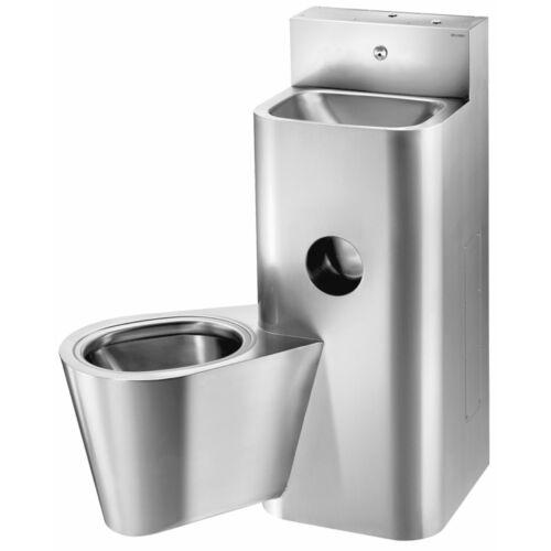 DELABIE kompakt fali börtön szaniter - blokkolásgátlós csappal szerelt vandálbiztos kézmosó, öblítőtartályos balos függő WC-vel, r.m. acél, 2 mm