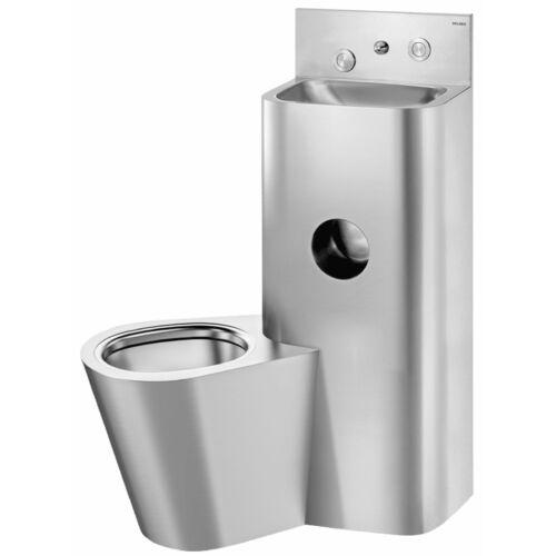 DELABIE kompakt szervizfolyosós börtön szaniter - blokkolásgátlós csappal szerelt vandálbiztos kézmosó, direkt öblítésű balos álló WC-vel, r.m. acél, 2 mm