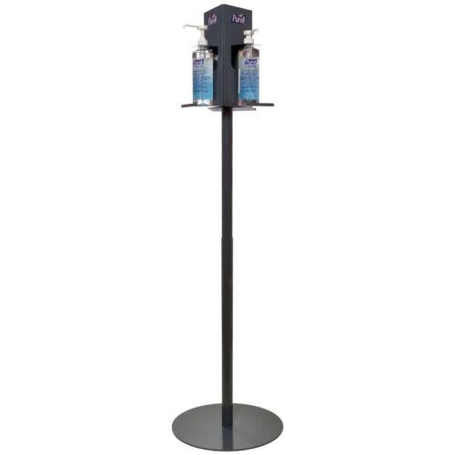 Kézfertőtlenítő állvány 2 db 500 ml-es pumpás PURELL Advanced kézfertőtlenítő gélhez és 1 db PURELL Surface felületfertőtlenítő kendőhöz, antracit, acél