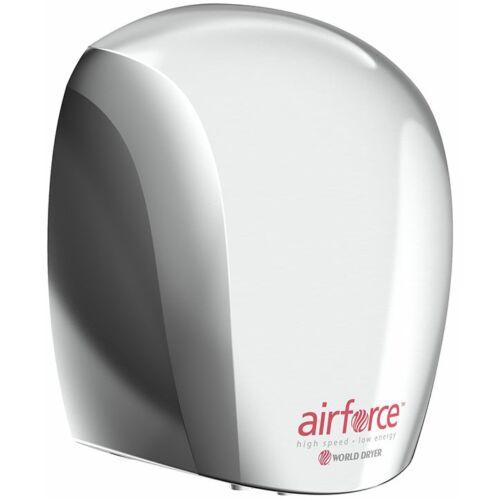 J48-972 WORLD DRYER AIRFORCE antibakteriális kézszárító, r.m. acél, fényes, 1100 W, 12 mp, 83 dB