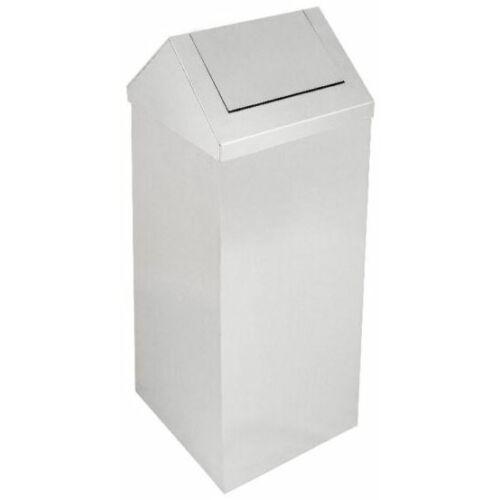 Billenőfedeles hulladékgyűjtő, 90 liter, álló, 1000 mm magas, rozsdamentes acél, matt