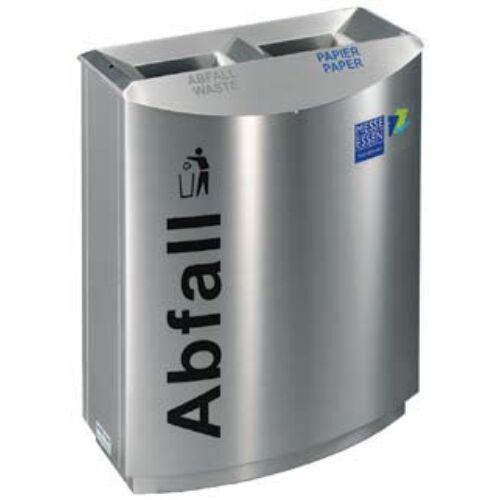 TEMPTATION FF2 vandálbiztos szelektív hulladékgyűjtő 2 állással, 2 db 50 literes belső fém szemetes rekesz, rendszerkulccsal zárható, tűzálló / önoltó, 1,5 mm vastag rozsdamentes acél ház, selyem