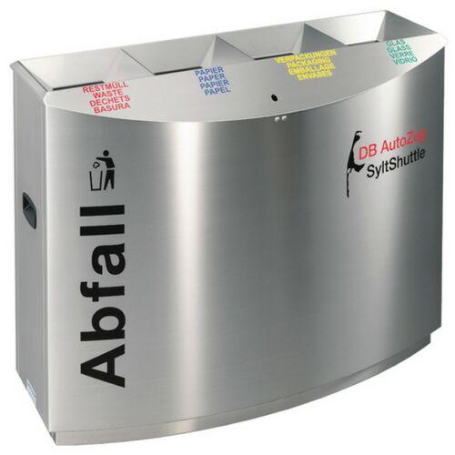 TEMPTATION FF4 vandálbiztos szelektív hulladékgyűjtő 4 állással, 2 db 55 literes és 2 db 60 literes belső fém szemetes rekesz, rendszerkulccsal zárható, tűzálló / önoltó, 1,5 mm vastag rozsdamentes acél ház, selyem