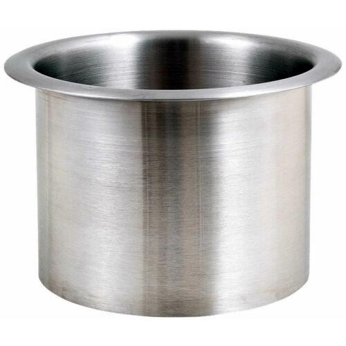 Mosdópultba süllyeszthető hulladékledobó nyílás, hengeres, felső peremmel, 150 mm átmérő, 120 mm magasság, rozsdamentes acél, fényes