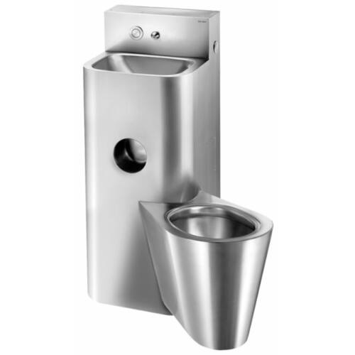 Kompakt, függő WC-vel egybeépített vandálbiztos mosdó, jobbos, r.m. acél, selyem, 2 mm falvastagság