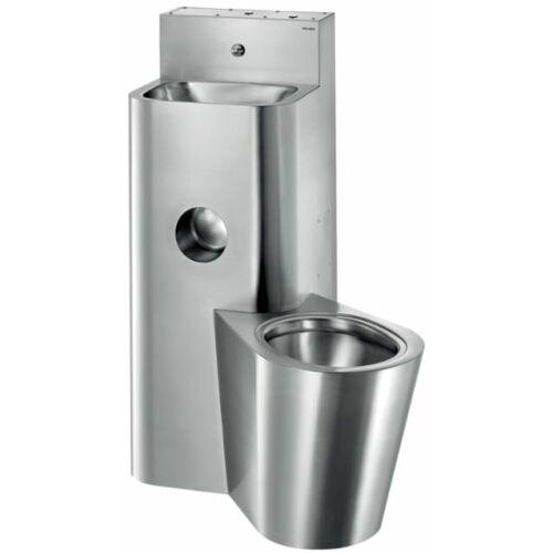 Kompakt, álló WC-vel egybeépített vandálbiztos mosdó, álló,  jobbos, r.m. acél, selyem, 2 mm falvastagság