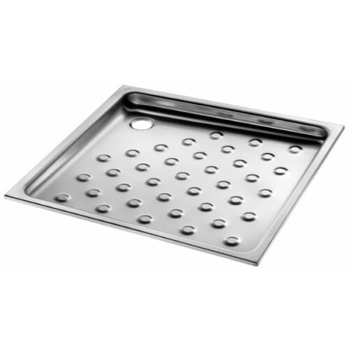 Vandálbiztos zuhanytálca 70x70 cm-es, 60 mm mély, r.m. acél, selyem, 1,2 mm falvastagság