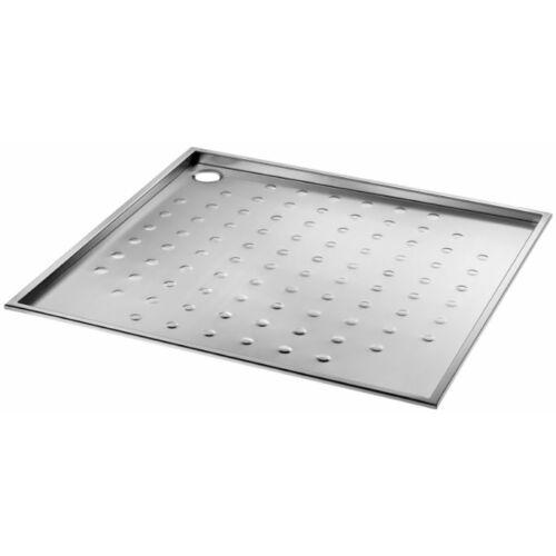 DELABIE vandálbiztos zuhanytálca akadálymentes zuhanyzóba, csúszásmentes 900x900 mm-es felület, r.m. acél, selyem, 1,5 mm falvastagság