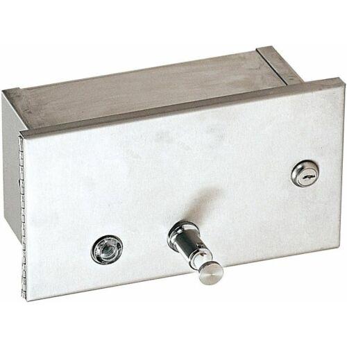 Beépített, vízszintes szappanadagoló, műanyag belső tartállyal, r.m. acél, selyem, 1,2 liter