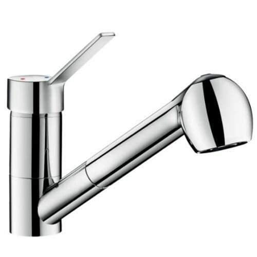 DELABIE kézi keverőkaros mosogató csaptelep, lengő kifolyóval, kihúzható fejjel, álló, 7 liter/perc