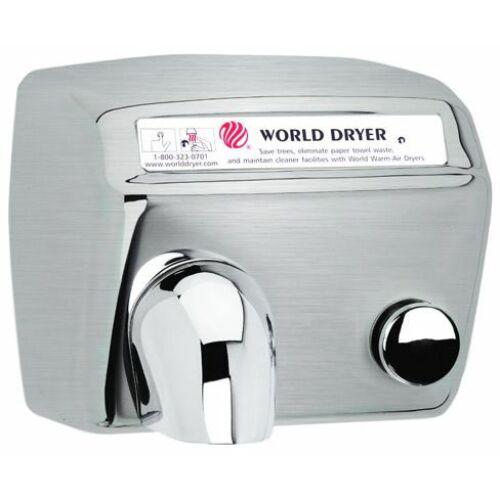 DA548-973 WORLD DRYER Model A nyomógombos, időzített kézszárító, r.m. acél, selyem, 2300 W, 20 mp, 73,8 dB