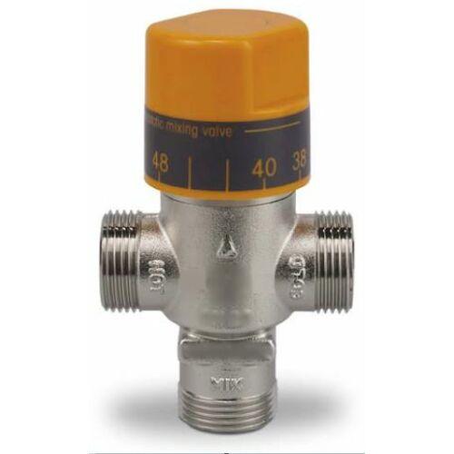 """DN15, 1/2"""" univerzális termosztatikus keverőszelep, állítható hőmérséklettel, max 110°C fok belépő vízhez"""