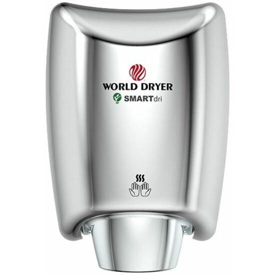 WORLD DRYER SMARTdri Plus okos kézszárító, single-port fúvóka, vandálbiztos 3 mm vastag alumínium ház, fényes, állítható sebesség, kapcsolható fűtőszál, 400-1200 W, villámgyors, 10 mp szárítási idő, K48-970P