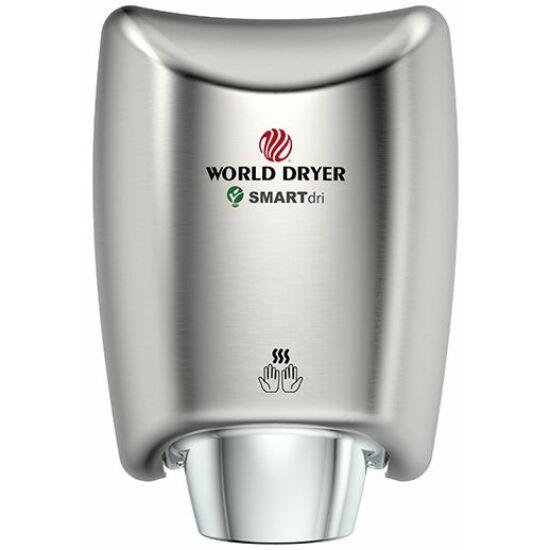 WORLD DRYER SMARTdri Plus okos kézszárító, single-port fúvóka, vandálbiztos 3 mm vastag alumínium ház, selyem, állítható sebesség, kapcsolható fűtőszál, 400-1200 W, villámgyors, 10 mp szárítási idő, K48-971P