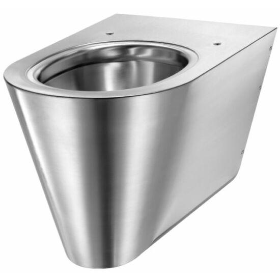 DELABIE vandálbiztos fali WC csésze, rozsdamentes acél, 1,5 mm falvastagsággal, megerősített rögzítőkonzolos hátlappal, selyem matt, DEL110310