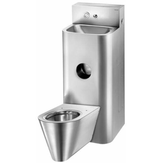 Kompakt, álló WC-vel egybeépített vandálbiztos mosdó, álló,  közép, r.m. acél, selyem, 2 mm falvastagság