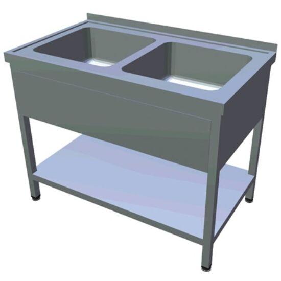 1000 mm-es, 2 medencés nagykonyhai mosogató, 400x400x250 mm-es medencékkel, lábra állítva, takaróköpennyel, alsó polccal, r.m. acél