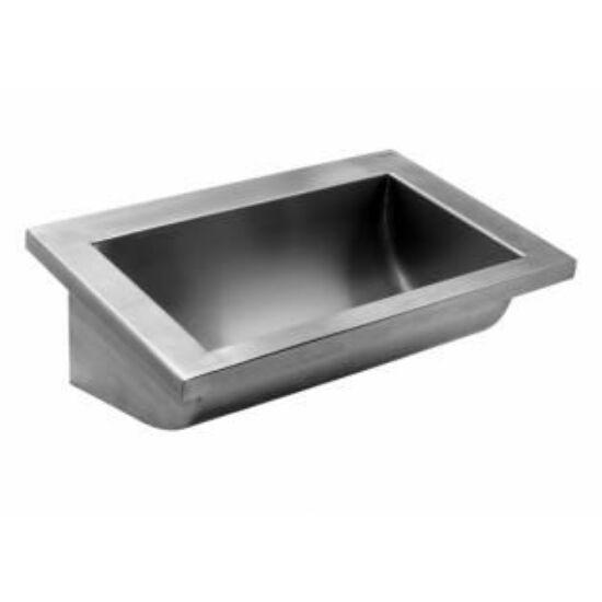 Vandálbiztos mosdóvályú, 2400 mm, r.m. acél, selyem, 1 mm falvastagság, CANAL